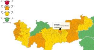 Corona-Ampel Tirol Quelle Östereichisches Gesundheitsministerium, Datenstand 24.9.20