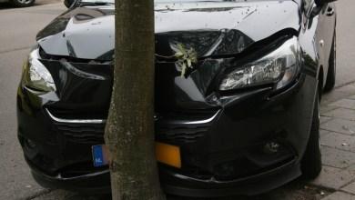 Photo of Automobiliste met auto tegen boom