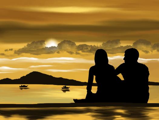lovers seated beside an ocean
