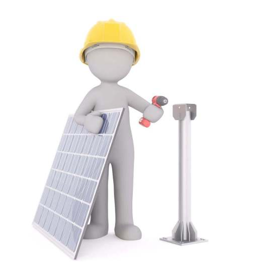 a model man holding a solar panel and a drill