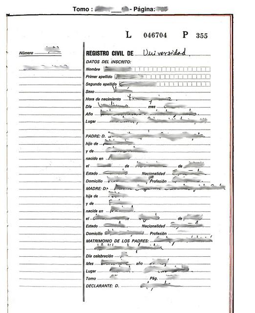 Certificado de Nacimiento en Registro Civil de Murcia