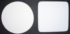 Blank White Coasters on Black Rubber Base