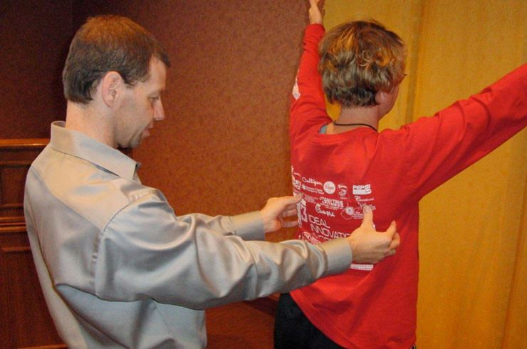 Demonstration on orthopedic sports medicine technique for shoulder rehabilitation