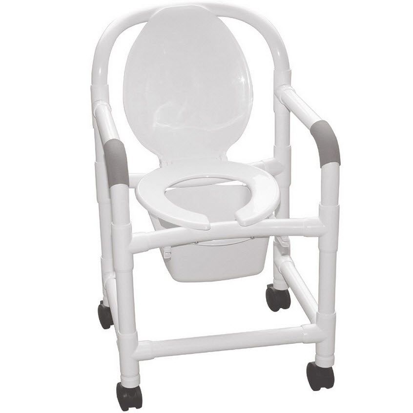 Bedside PVC Commode Chair With Elongated Seat And Open
