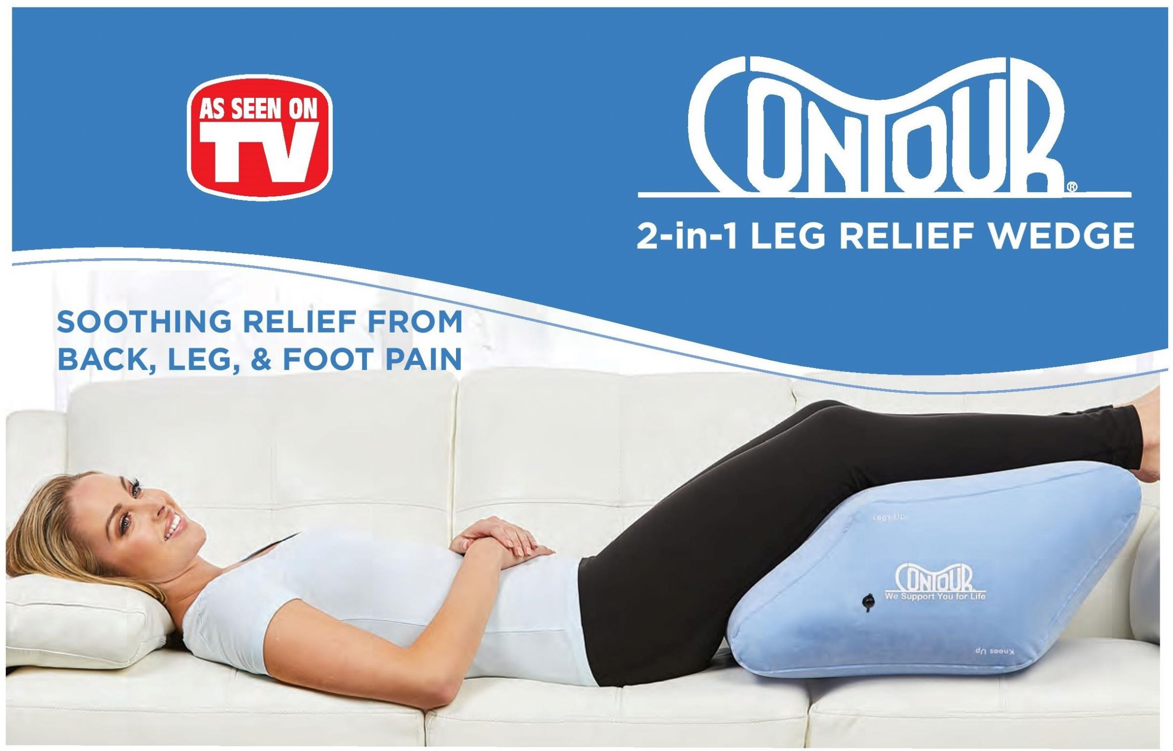 inflatable 2 in 1 leg relief wedge by contour living