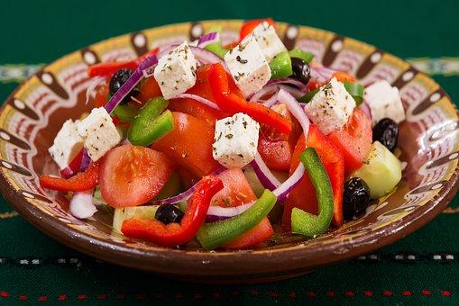 Salad eaten when following a Mediterranean diet
