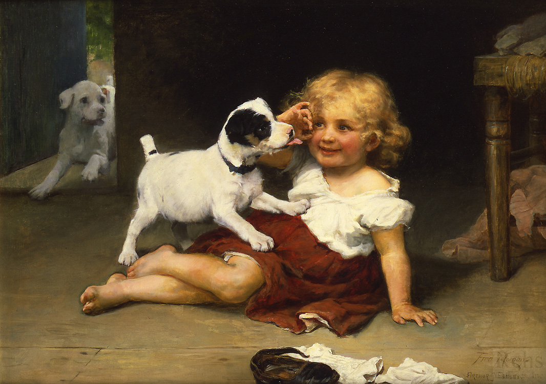 Ruff Play by Arthur J Elsley / Frederick Morgan - 26 x 36 inches Signed by both Arthur J. Elsley & Fred Morgan british victorian genre figures dog terriers jack russell