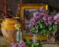 Lilacs and French Confit Jar by Gregory Frank Harris - 16 x 20 inches Signed american contemporary still life flowers florals