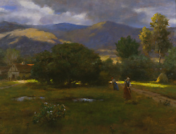 Sunbreak by Gregory Frank Harris - 18 x 24 inches Signed contemporary landscape plein air plain air figurative figures