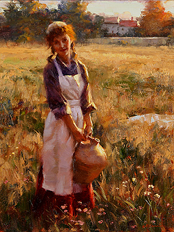 Warm Days of Summer by Gregory Frank Harris - 16 x 12 inches Signed; also signed, titled and dated on the reverse greg harris contemporary landscape plein air plain air figurative figures peasants harvesters harvesting