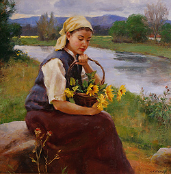 Sunflowers by Gregory Frank Harris - 20 x 20 inches Signed; signed, titled and dated on the reverse american contemporary figurative figures genre plein-air