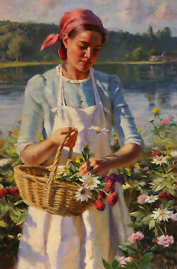 Wildflowers on the River's Edge by Gregory Frank Harris - 30 x 20 inches Signed; also signed, titled and dated on the reverse reg harris contemporary landscape plein air plain air figurative figures peasants gardening