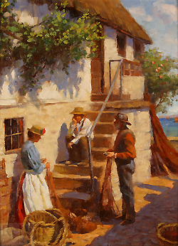 Old Newlyn Cottage by Gregory Frank Harris - 16 x 12 inches Signed; also signed, titled and dated on the reverse contemporary american plein air plain air figurative figures