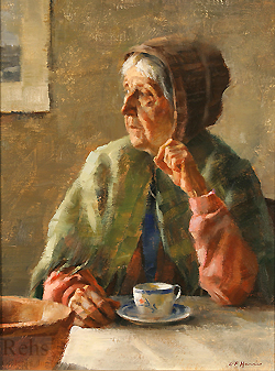 Now, Only Memories by Gregory Frank Harris - 14 x 11 inches Signed; also signed and titled on the reverse contemporary american plein air plain air figurative figures interior