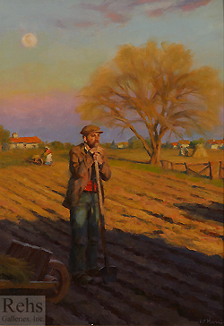 Evening Light and April Moon by Gregory Frank Harris - 14 x 12 inches Signed; also signed and titled on the reverse american genre male figure figurative peasant
