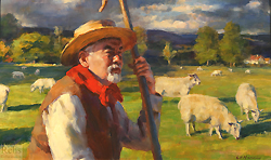 On the Eve of Sundown by Gregory Frank Harris - 12 x 20 inches Signed; also signed and titled on the reverse contemporary realism figurative genre animals