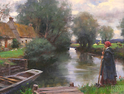 Along the Peaceful River by Gregory Frank Harris - 12 x 16 inches Signed; also signed and titled on the reverse contemporary american realist genre figures figurative