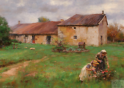 Early Spring, Old Brittany Farm by Gregory Frank Harris - 14 x 20 inches Signed; also signed and titled on the reverse contemporary american impressionist landscape figures flowers