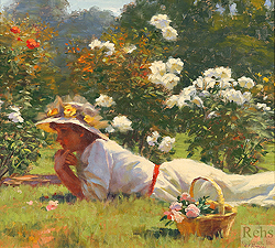 Daydreams and White Roses by Gregory Frank Harris - 14 x 16 inches Signed; also signed and titled on the reverse genre figurative sunlight garden