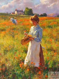 Hillside Poppies by Gregory Frank Harris - 24 x 18 inches Signed; also signed, titled and dated on the reverse contemporary realist genre flowers figurative