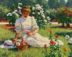 From the Garden by Gregory Frank Harris - 16 x 20 inches Signed; also signed and titled on the reverse contemporary american genre figurative figure garden landscape