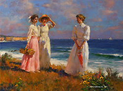 Coastal Morning by Gregory Frank Harris - 12 x 16 inches Signed; also signed and titled on the reverse contemporary american genre figures figurative beach coastal