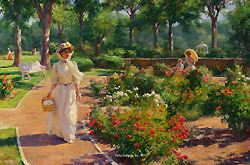 Garden Pathway by Gregory Frank Harris - 12 x 18 inches Signed; also signed and titled on the reverse contemporary american genre figures figurative
