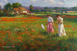 Springtime in the Fields by Gregory Frank Harris - 16 x 24 inches Signed; also signed and titled on the reverse american contemporary genre figurative figures garden