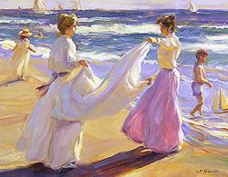 Sunlight & Shadows by Gregory Frank Harris - 14 x 18 inches Signed contemporary american landscape plein air plain air figurative figures beach