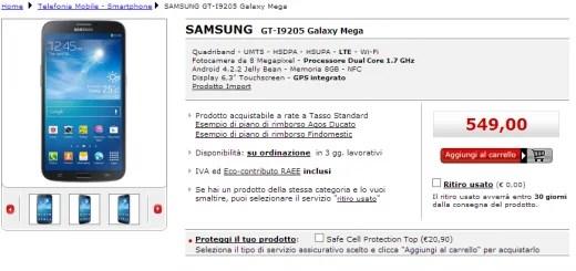 Samsung Galaxy Mega 6.3 LTE appare su MediaWorld a 549€