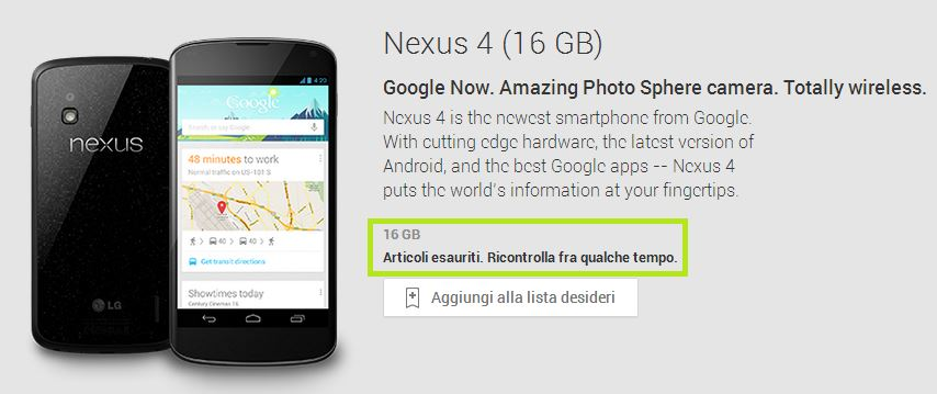 Nexus 4 16GB out of stock: sarà per via del Nexus 5?