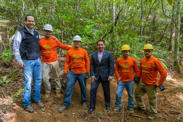 Jeremy Hyatt (left) and Chief Richard Sneed (center) along with a local work crew at Fire Mountain