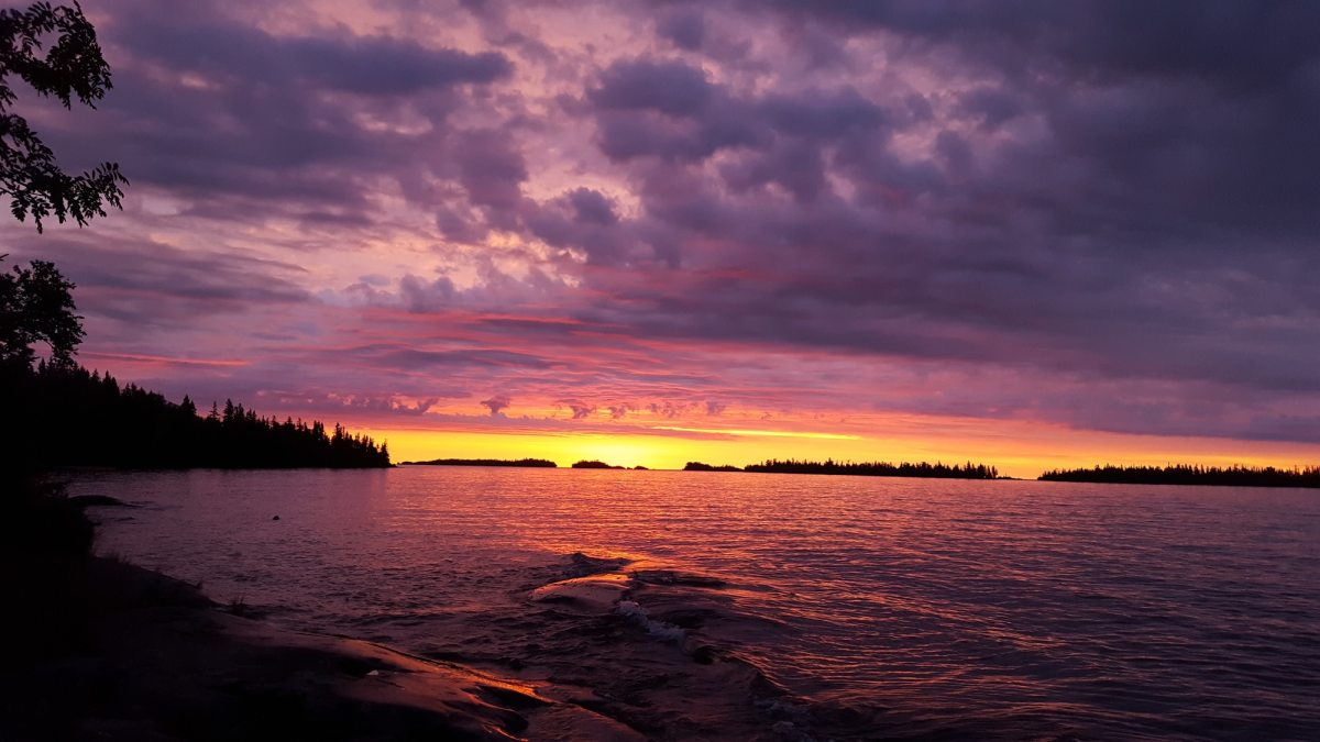 A multi-colored sunset at Isle Royale National Park.