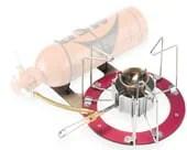 kompor bahan bakar cair yang dihubungkan ke tangki bahan bakar kecil