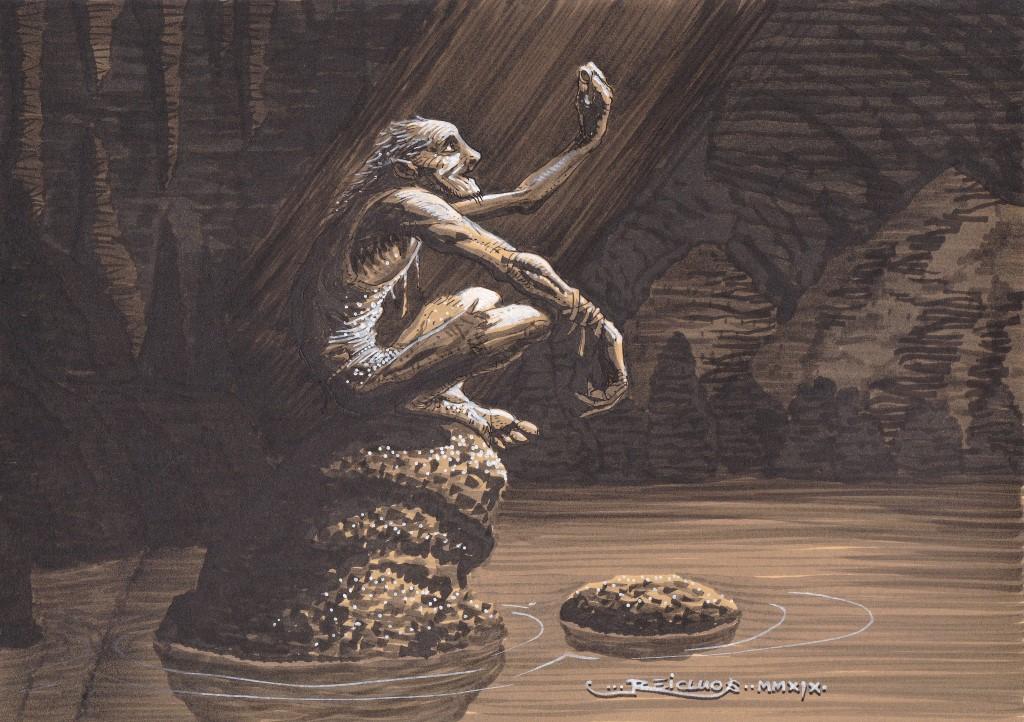 Seul sur son rocher au milieu d'un lac souterrain, Gollum le Hobbit déchu contemple dans un rare rai de lumière son précieux anneau.