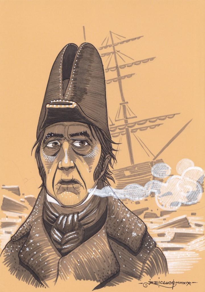Dans le froid glacial de l'Arctique, un capitaine de navire britannique reste figé par l'horreur. Derrière lui, son navire prisonnier des glaces.