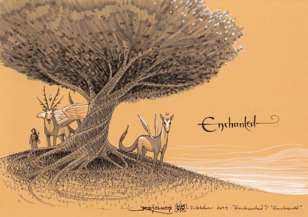 A l'ombre d'un arbre magique se tiennent un cerf ailé et une biche, aux fronts ornés d'une gemme magique. A leurs côtés marche une elfe.