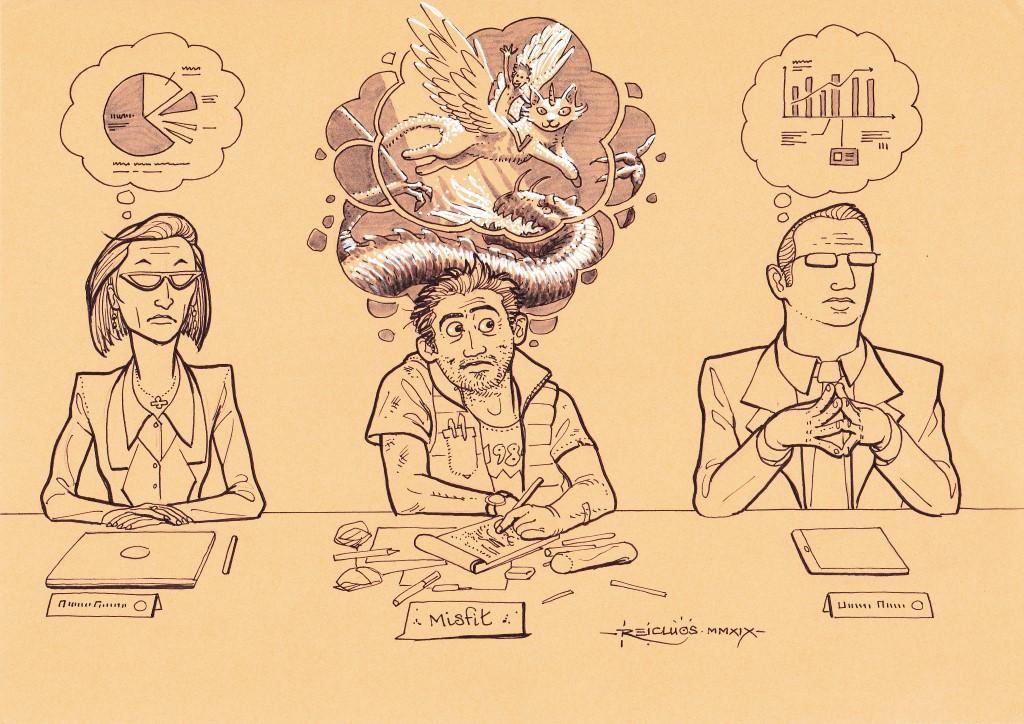 3 personnages assis participent à une réunion. La femme à gauche comme l'homme à droite sont très sérieux et n'ont en tête que des chiffres et diagrammes. Au centre, un homme à l'apparence moins soignée griffonne et ne songe qu'à des scènes épiques de dragons et créatures ailées.