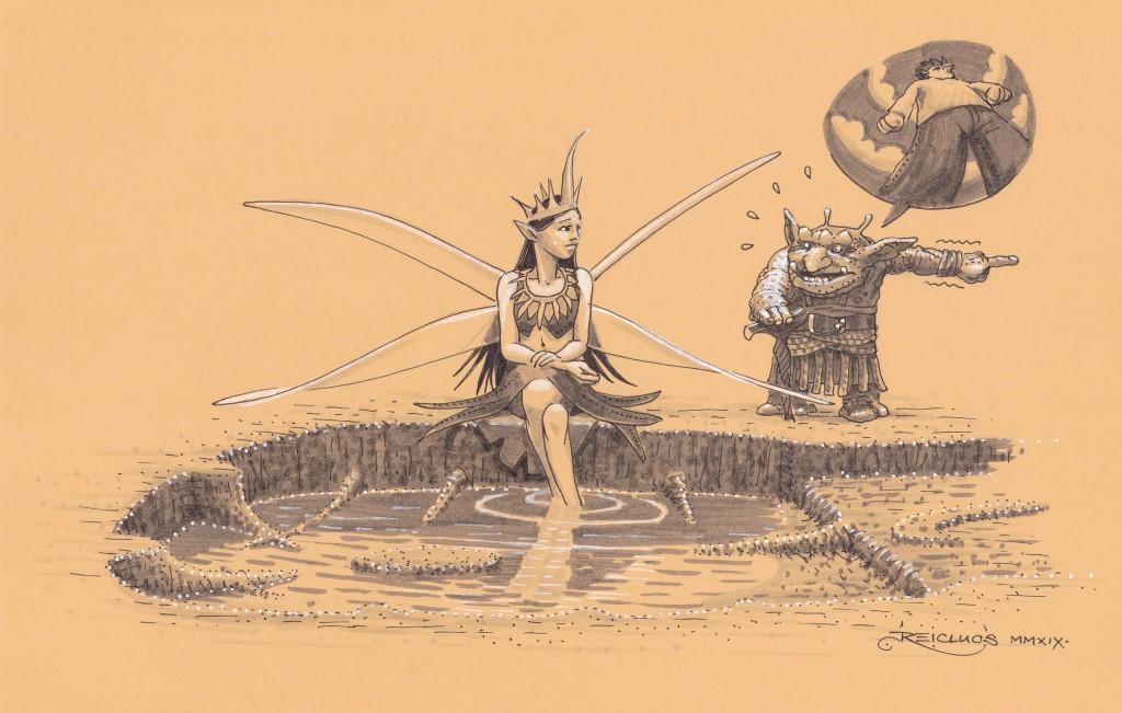 Une fée se tient assise au bord d'un trou d'eau, les pieds dans l'eau. La mare a la forme d'une gigantesque empreinte de chaussure. A ses côtés, un gnome appuyé sur sa canne raconte en tremblant le géant qui vient de passer par là