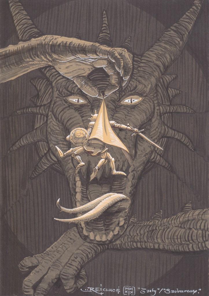 Une énorme main griffue tient par la cape un chevalier gesticulant désespérément devant la gueule ouverte d'un Dragon