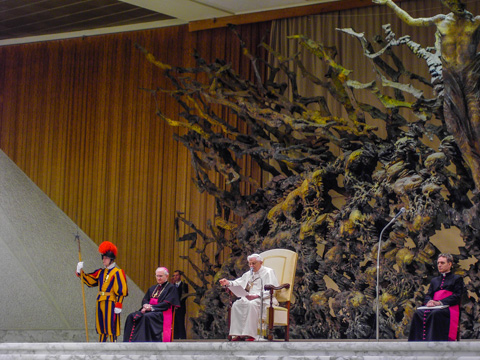 An indoor papal audience in Rome