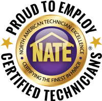 Proud to Employ Nate Certified Technicians graphic.