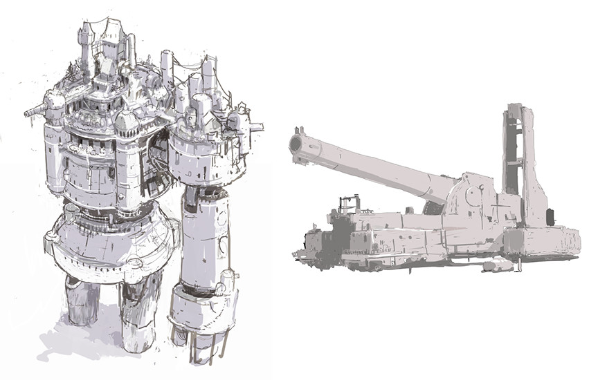 Concept art for KalKanon (right) and Peacemaker (left).