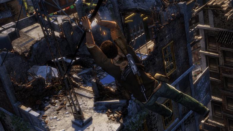 Uncharted 2 UNDC Warzone Demo_Drake Rope Slide