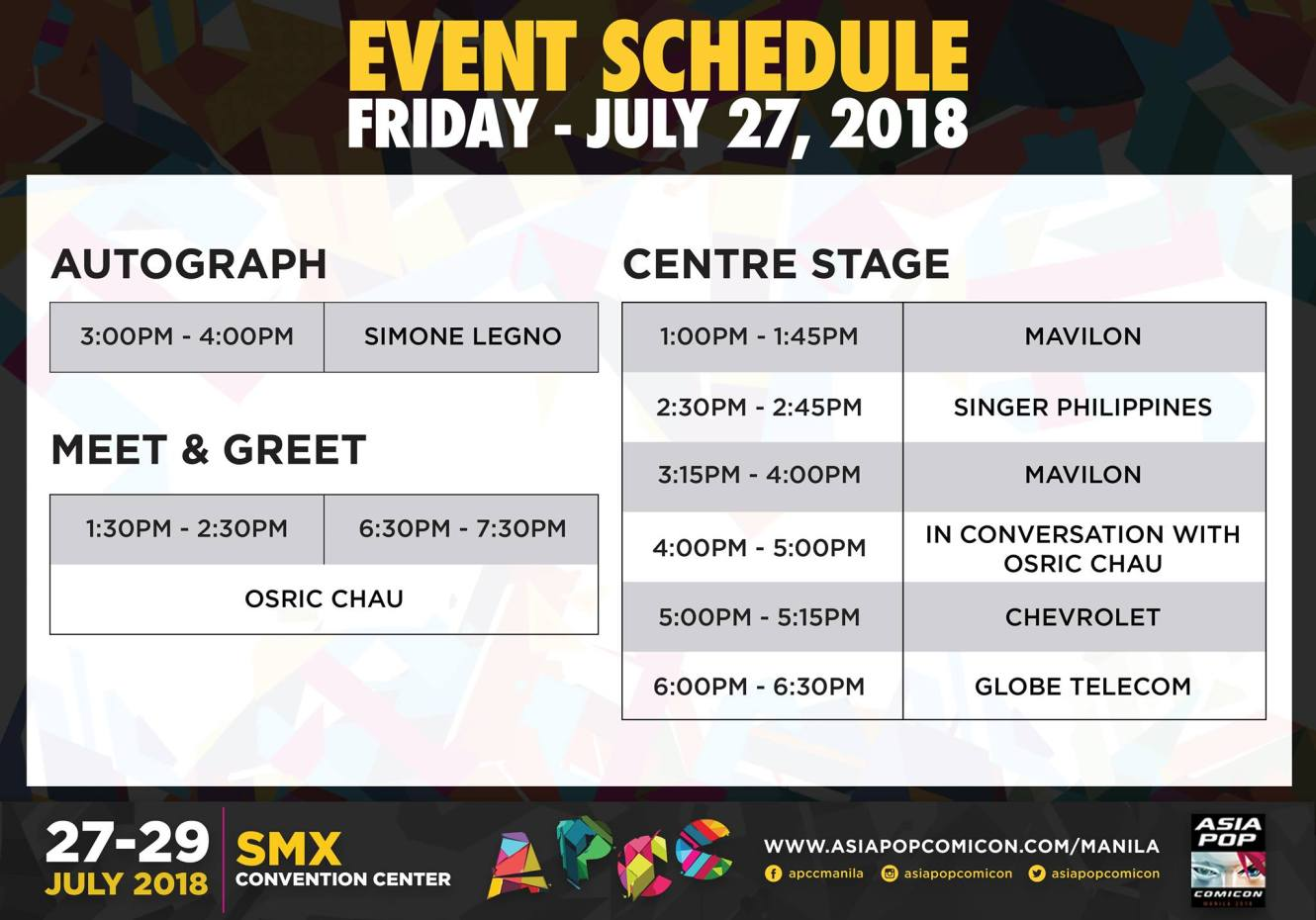 APCC Manila 2018 day 1 schedule