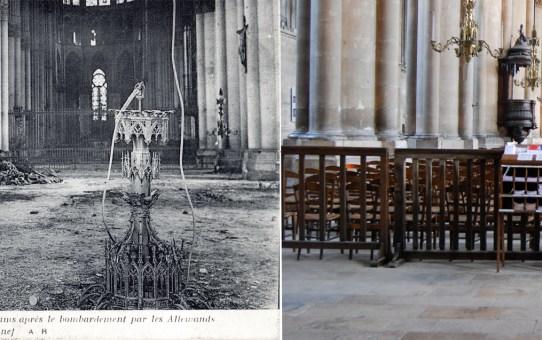 La cathédrale de Reims après le bombardement des Allemands, la grande nef