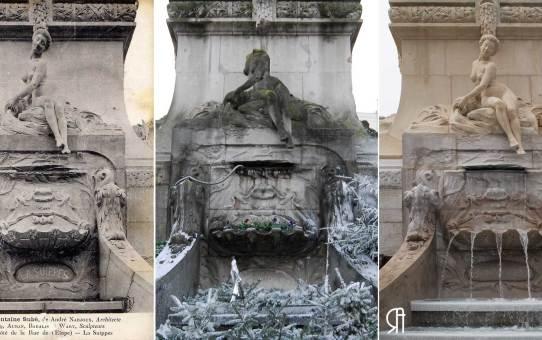 La fontaine Subé à trois époques : La Suippe