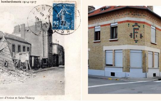 Angle de la rue du Mont d'Arène et de la rue Saint-Thierry, actuelle rue Clémence Fouriaux