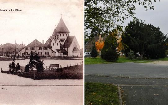 Le Chemin Vert, la Place et l'église Saint-Nicaise