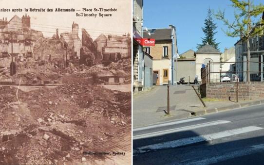 La Place Saint-Timothée vue depuis la rue du Grand-Cerf en 1919